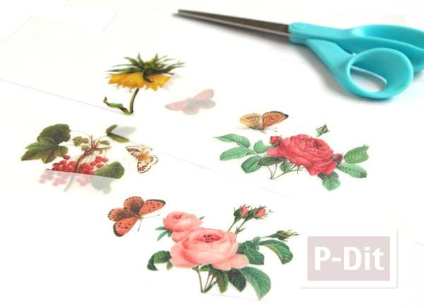รูป 4 ตกแต่งแก้วเทียน ประดับกระดาษ ลายดอก