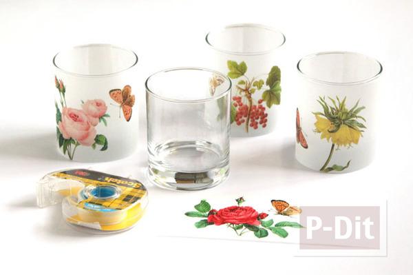 รูป 5 ตกแต่งแก้วเทียน ประดับกระดาษ ลายดอก