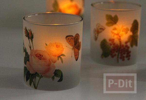 รูป 7 ตกแต่งแก้วเทียน ประดับกระดาษ ลายดอก