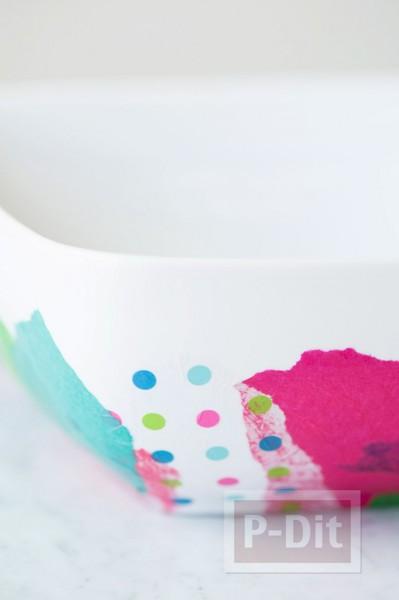 รูป 4 ชามใส่ผลไม้ ติดลายสวย กระดาษว่าวสีสด