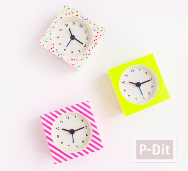 นาฬิกาตั้งโต๊ะ ลายสวย ด้วยสก็อตเทป