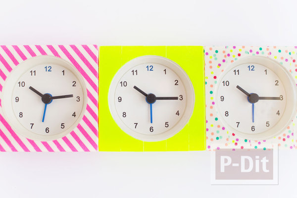 รูป 4 นาฬิกาตั้งโต๊ะ ลายสวย ด้วยสก็อตเทป