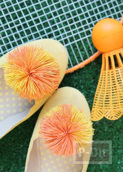 รูป 4 รองเท้าคัชชู ตกแต่ง ลายดอกไม้ ทำจากยางรัดผม