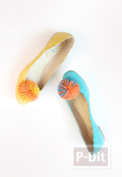 รูป 6 รองเท้าคัชชู ตกแต่ง ลายดอกไม้ ทำจากยางรัดผม