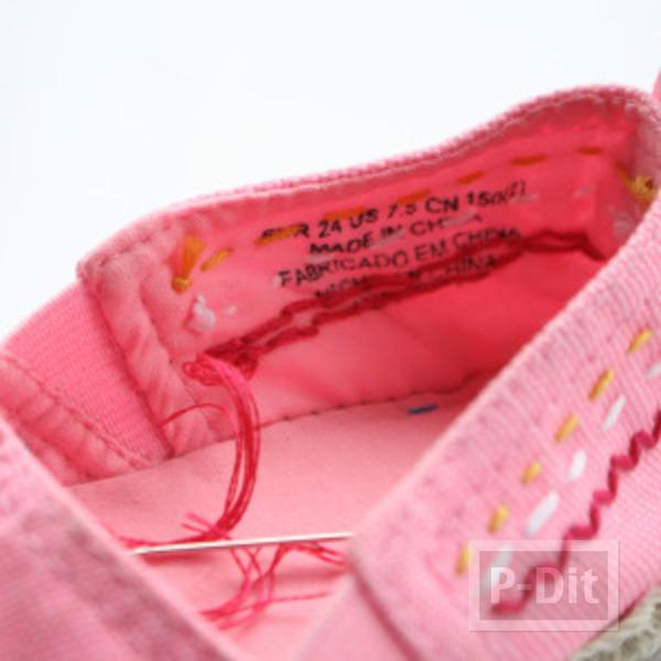 รูป 3 รองเท้าคู่สวย ตกแต่งลายน่ารัก กับด้ายสีสด