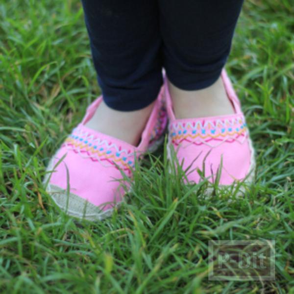 รูป 7 รองเท้าคู่สวย ตกแต่งลายน่ารัก กับด้ายสีสด