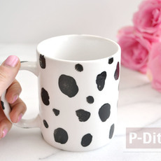 แก้วกาแฟ ระบายสีสวย ลายจุดสีดำ