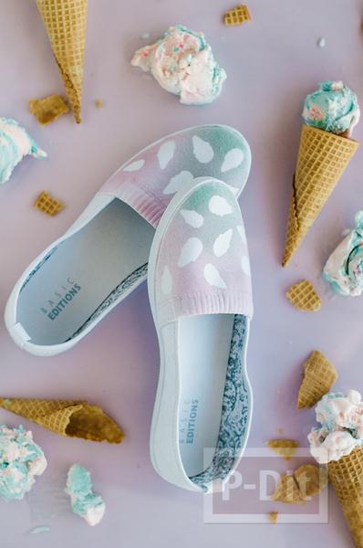 รูป 1 รองเท้าคู่สวย ตกแต่ง พ่นสี ลายไอศกรีม