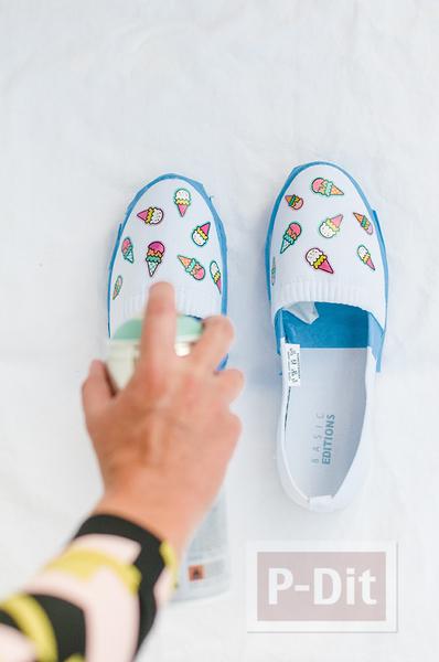 รูป 4 รองเท้าคู่สวย ตกแต่ง พ่นสี ลายไอศกรีม