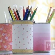 ทำที่ใส่ดินสอสวยๆ จากกระป๋อง ประดับกระดาษ
