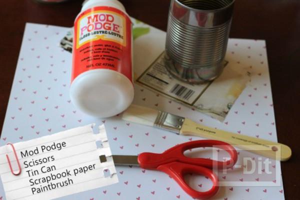 รูป 4 ทำที่ใส่ดินสอสวยๆ จากกระป๋อง ประดับกระดาษ