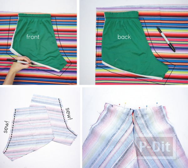 รูป 2 กางเกงขาสั้น สีรุ้ง เย็บเอง แบบง่ายๆ