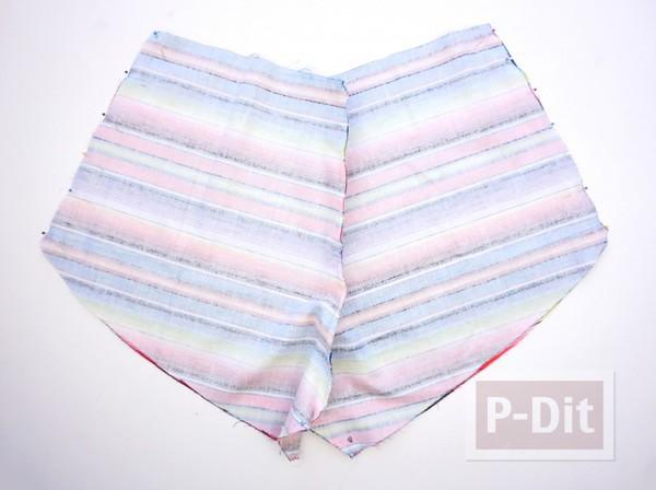 รูป 4 กางเกงขาสั้น สีรุ้ง เย็บเอง แบบง่ายๆ