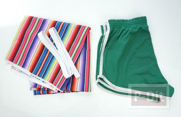 รูป 5 กางเกงขาสั้น สีรุ้ง เย็บเอง แบบง่ายๆ