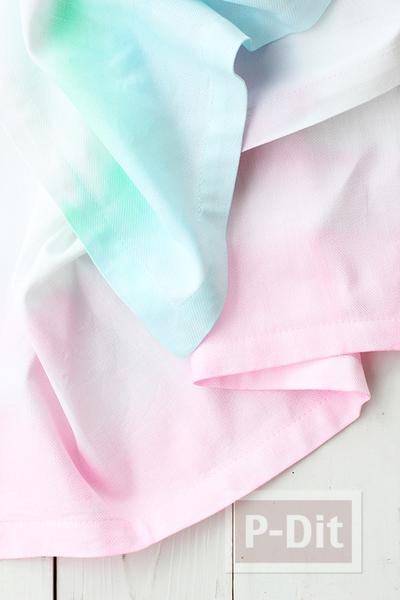 ผ้าเช็ดหน้า สีสวย ด้วยสีน้ำ