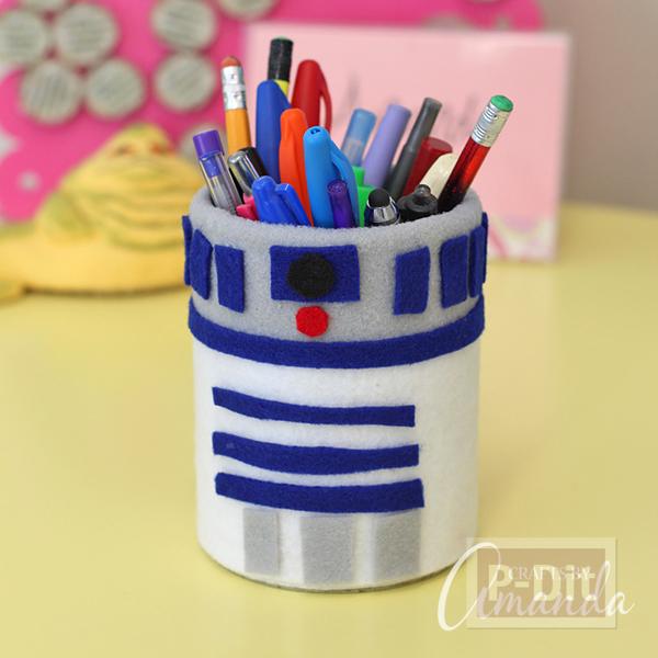 กล่องใส่ดินสอ หุ้มด้วยผ้าสักกะหลาด ทำลายหุ่นยนต์