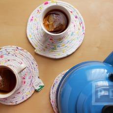 เย็นจานรองแก้ว จากเชือก ตกแต่งลายสวย