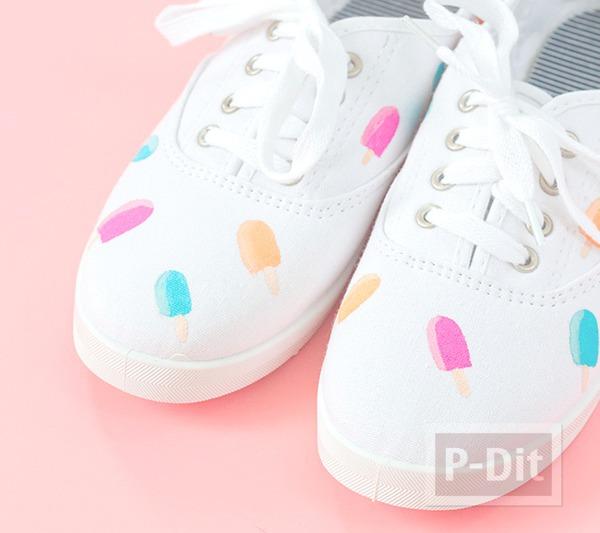 รูป 1 รองเท้าผ้าใบ ระบายสีทำลายไอศกรีม น่ารักๆ
