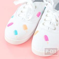 รองเท้าผ้าใบ ระบายสีทำลายไอศกรีม น่ารักๆ