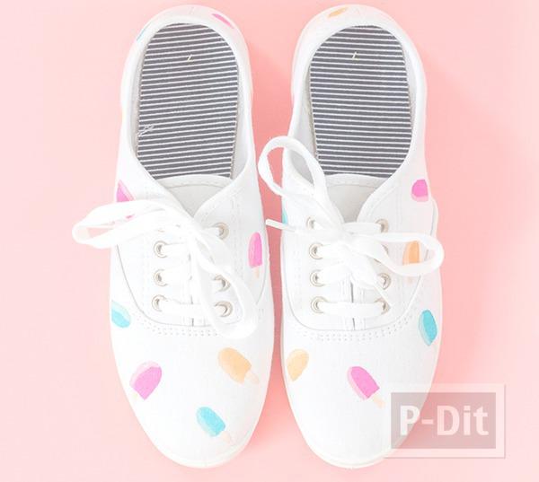 รูป 2 รองเท้าผ้าใบ ระบายสีทำลายไอศกรีม น่ารักๆ