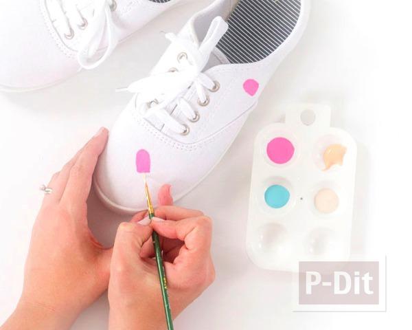 รูป 5 รองเท้าผ้าใบ ระบายสีทำลายไอศกรีม น่ารักๆ