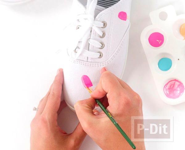 รูป 6 รองเท้าผ้าใบ ระบายสีทำลายไอศกรีม น่ารักๆ
