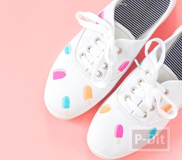 รูป 7 รองเท้าผ้าใบ ระบายสีทำลายไอศกรีม น่ารักๆ
