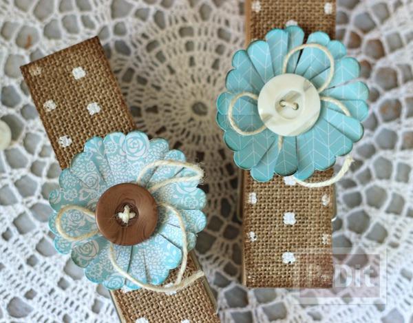 ไม้หนีบผ้าแบบไม้ ตกแต่งลายสวย ประดับดอกไม้กระดาษ