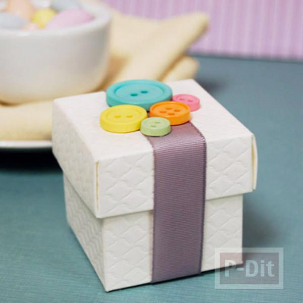 รูป 2 กล่องของขวัญ ตกแต่งประดับกระดุม สีสด
