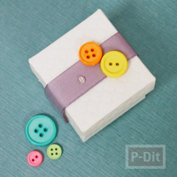 รูป 5 กล่องของขวัญ ตกแต่งประดับกระดุม สีสด