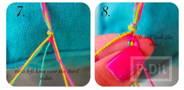 รูป 6 สร้อยข้อมือ ทำจากเชือกสีสด