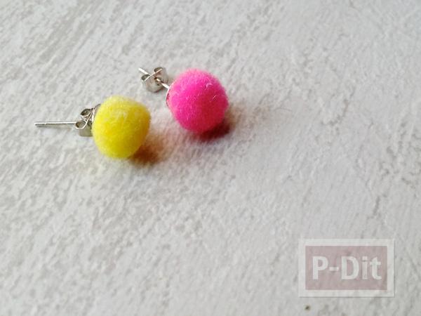 รูป 1 ต่างหูสวยๆ ทำจากปอมๆเล็กๆ สีสด