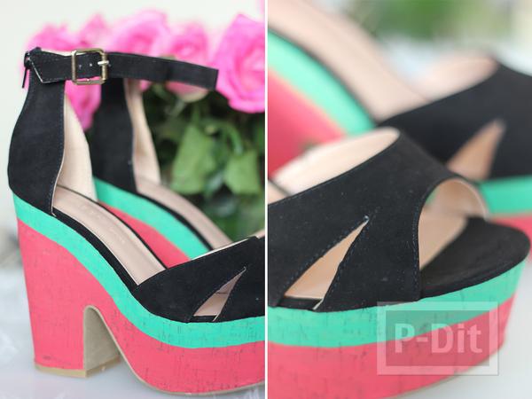 รูป 4 รองเท้าส้นสูง ระบายสีสวย ลายแตงโม