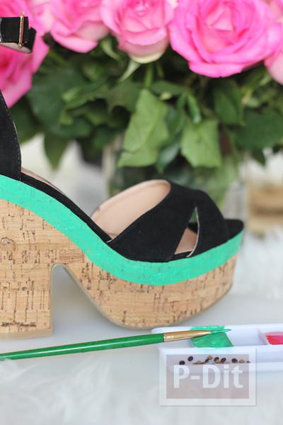 รูป 6 รองเท้าส้นสูง ระบายสีสวย ลายแตงโม