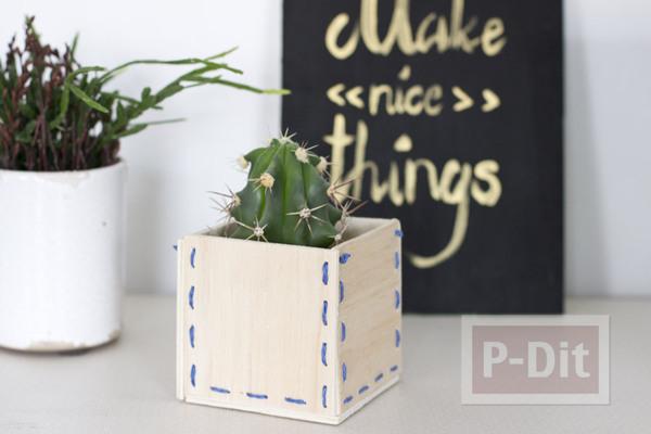 รูป 2 กระถางดอกไม้ ทำจากไม้ ถักขอบเชือกสีสวย