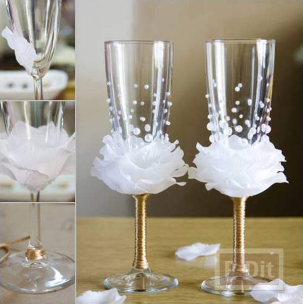 ตกแต่งแก้วไวน์ ประดับงานแต่งงานสวยๆ