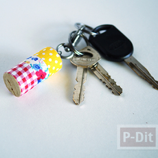 พวงกุญแจไม้ก็อกสวยๆ ประดับสก็อตเทปลายน่ารัก