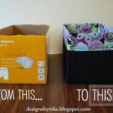 กล่องกระดาษเก่าๆ หุ้มผ้าสีสวย น่าใช้
