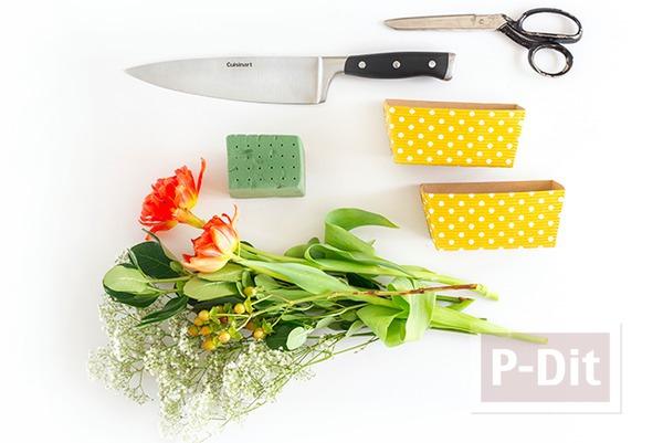 รูป 3 สอนจัดกระถางดอกไม้สวยๆ ประดับโต๊ะอาหาร