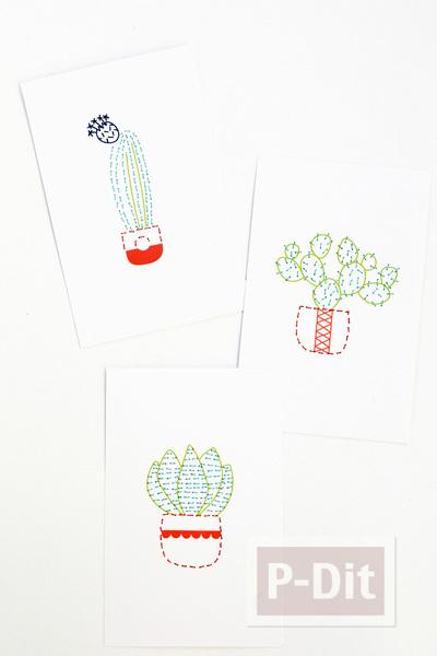 รูป 3 การ์ดสวยๆ ตกแต่งแบบง่ายๆด้วย ด้ายสีสด