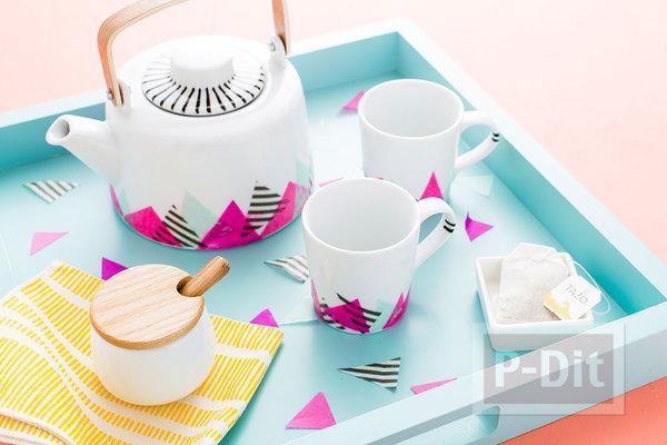 ตกแต่งชุดน้ำชาสวยๆ ด้วยกระดาษสีสด