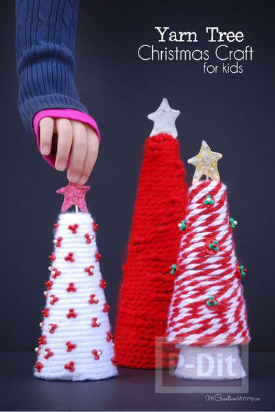 รูป 3 ต้นคริสต์มาส ทำเองสวยๆ จากไหมพรม