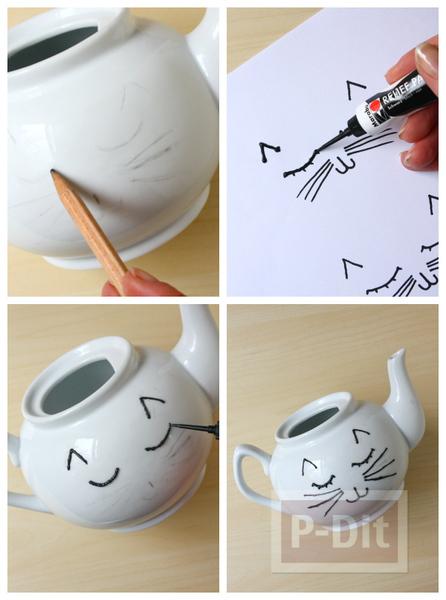 รูป 2 กาน้ำชา ลายแมวเหมียว วาดเอง น่ารักๆ