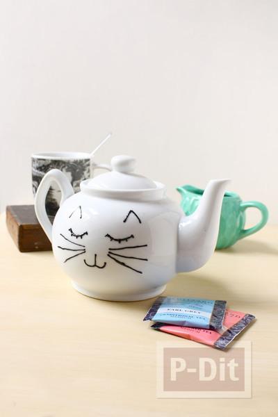 รูป 3 กาน้ำชา ลายแมวเหมียว วาดเอง น่ารักๆ