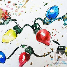 การ์ดคริสต์มาส ปีใหม่ ลายหลอดไฟ ระบายสีน้ำ