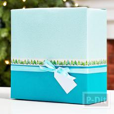 กล่องของขวัญ ห่อกระดาษสองสี ติดสก็อตเทป