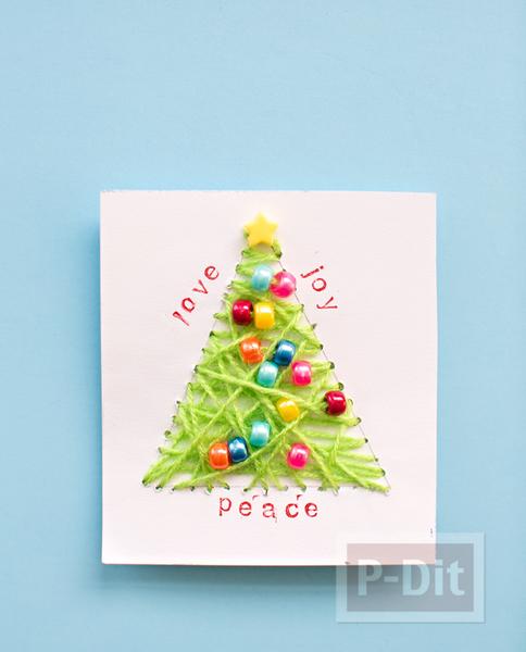 รูป 3 การ์ดคริสต์มาส ถักต้นคริสต์มาส จากไหมพรม