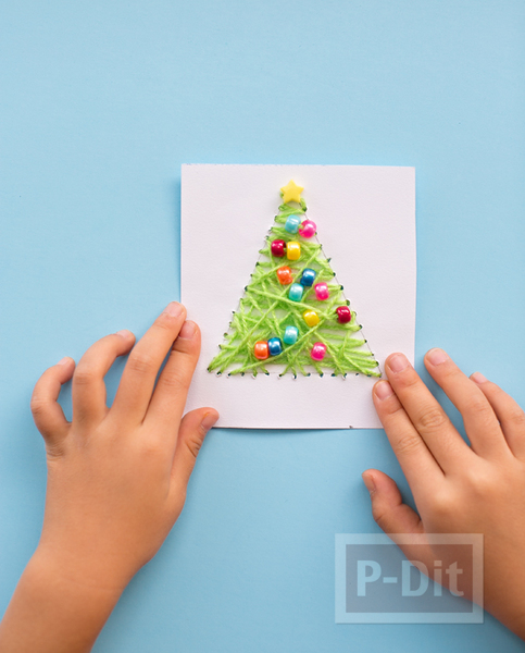 รูป 4 การ์ดคริสต์มาส ถักต้นคริสต์มาส จากไหมพรม