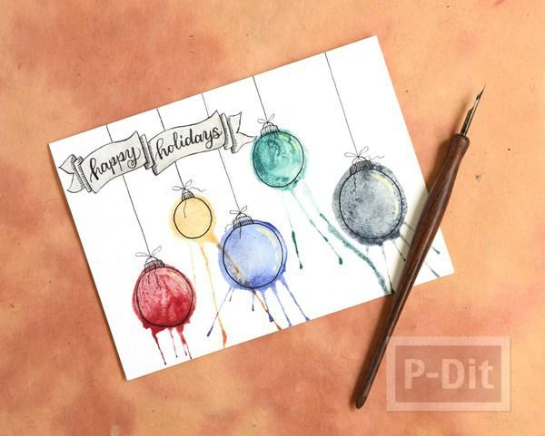 รูป 5 การ์ดคริสต์มาส ลายหลอดไฟ สีสดใส