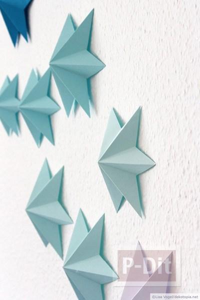 รูป 3 พับกระดาษรูปดาว สวยๆ ประดับบ้านงานปาร์ตี้